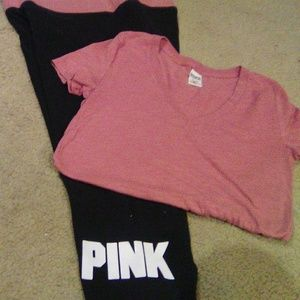 VS Pink yoga and t-shirt